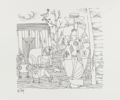 William Steig (American, 1907-2003). <em>[Untitled] (Farmer - Lines - Pig and Chicks)</em>. Brooklyn Museum, Gift of Jeanne Steig, 2010.20.15. © artist or artist's estate (Photo: Brooklyn Museum, 2010.20.15_PS4.jpg)