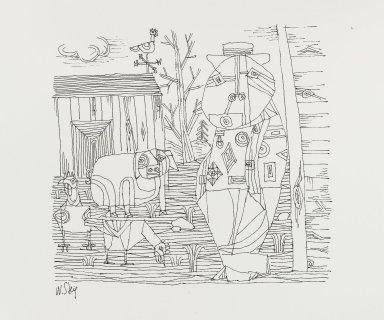 William Steig (American, 1907-2003). <em>[Untitled] (Farmer - Lines - Pig and Chicks)</em>. Brooklyn Museum, Gift of Jeanne Steig, 2010.20.15. © artist or artist's estate (Photo: Brooklyn Museum, 2010.20.15_PS4.jpg)