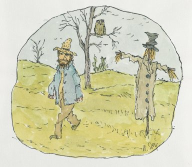 William Steig (American, 1907-2003). <em>[Untitled] (Farmer and Scarecrow)</em>. Brooklyn Museum, Gift of Jeanne Steig, 2010.20.16. © artist or artist's estate (Photo: Brooklyn Museum, 2010.20.16_PS2.jpg)