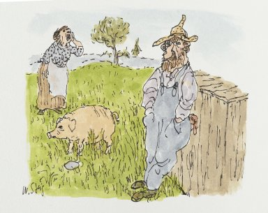 William Steig (American, 1907-2003). <em>[Untitled] (Farmer, Pig, Wife)</em>. Brooklyn Museum, Gift of Jeanne Steig, 2010.20.17. © artist or artist's estate (Photo: Brooklyn Museum, 2010.20.17_PS2.jpg)