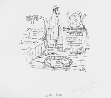 William Steig (American, 1907-2003). <em>[Untitled] (Scary Room)</em>. Brooklyn Museum, Gift of Jeanne Steig, 2010.20.21. © artist or artist's estate (Photo: Brooklyn Museum, 2010.20.21_PS4.jpg)