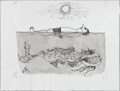 William Steig (American, 1907-2003). <em>[Untitled] (Man and Scary Fish)</em>. Brooklyn Museum, Gift of Jeanne Steig, 2010.20.22. © artist or artist's estate (Photo: Brooklyn Museum, 2010.20.22_PS4.jpg)