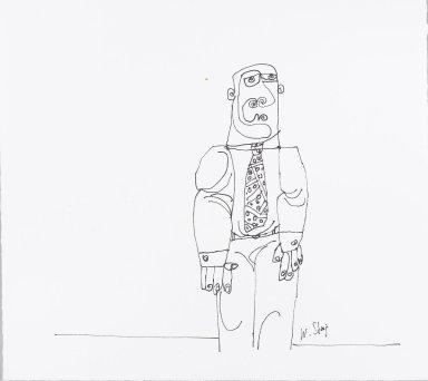 William Steig (American, 1907-2003). <em>[Untitled] (Verso - Shrek)</em>. Brooklyn Museum, Gift of Jeanne Steig, 2010.20.24a-b. © artist or artist's estate (Photo: Brooklyn Museum, 2010.20.24a_PS4.jpg)