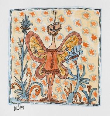 William Steig (American, 1907-2003). <em>[Untitled] (Orange Bug Sneak Preview)</em>. Brooklyn Museum, Gift of Jeanne Steig, 2010.20.25. © artist or artist's estate (Photo: Brooklyn Museum, 2010.20.25_PS4.jpg)