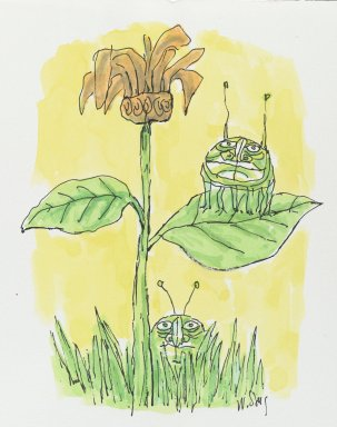 William Steig (American, 1907-2003). <em>[Untitled] (Two Green Bugs)</em>. Brooklyn Museum, Gift of Jeanne Steig, 2010.20.26. © artist or artist's estate (Photo: Brooklyn Museum, 2010.20.26_PS2.jpg)