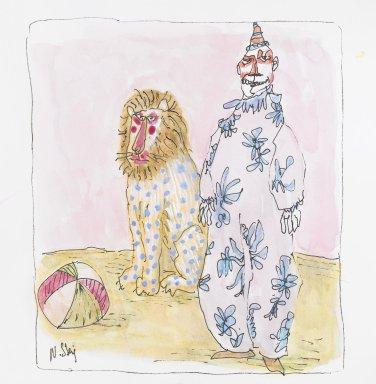 William Steig (American, 1907-2003). <em>[Untitled] (Pink Clown; Lion)</em>. Brooklyn Museum, Gift of Jeanne Steig, 2010.20.28. © artist or artist's estate (Photo: Brooklyn Museum, 2010.20.28_PS4.jpg)