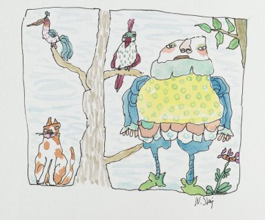 William Steig (American, 1907-2003). <em>[Untitled] (Jester with Tree, Cat, Birds)</em>. Brooklyn Museum, Gift of Jeanne Steig, 2010.20.30. © artist or artist's estate (Photo: Brooklyn Museum, 2010.20.30_PS2.jpg)