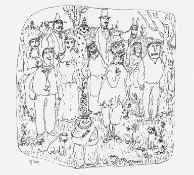 William Steig (American, 1907-2003). <em>[Untitled] (Big Figure Group of Stock Characters)</em>. Brooklyn Museum, Gift of Jeanne Steig, 2010.20.33. © artist or artist's estate (Photo: Brooklyn Museum, 2010.20.33_PS4.jpg)