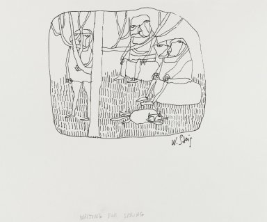 William Steig (American, 1907-2003). <em>[Untitled] (Waiting for Spring - Lines)</em>. Brooklyn Museum, Gift of Jeanne Steig, 2010.20.34. © artist or artist's estate (Photo: Brooklyn Museum, 2010.20.34_PS4.jpg)