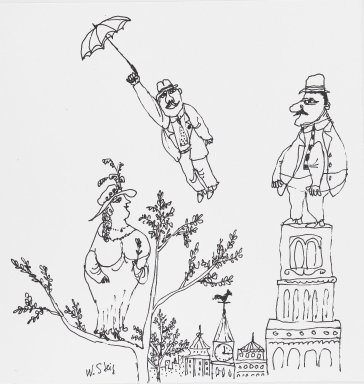 William Steig (American, 1907-2003). <em>[Untitled] (Spring - Man with Umbrella/Woman on Tree/Man on Tower)</em>. Brooklyn Museum, Gift of Jeanne Steig, 2010.20.37. © artist or artist's estate (Photo: Brooklyn Museum, 2010.20.37_PS4.jpg)