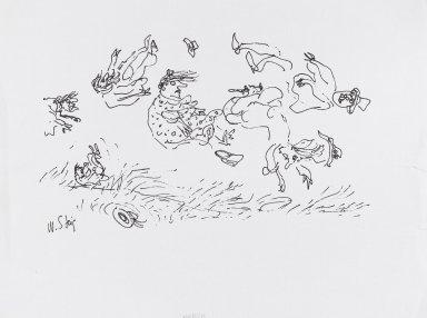 William Steig (American, 1907-2003). <em>[Untitled] (March - Figures Flying in Wind)</em>. Brooklyn Museum, Gift of Jeanne Steig, 2010.20.38. © artist or artist's estate (Photo: Brooklyn Museum, 2010.20.38_PS4.jpg)