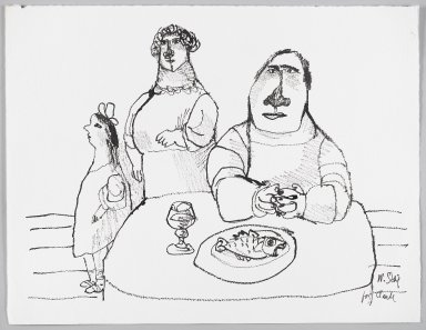 William Steig (American, 1907-2003). <em>[Untitled] (Family with Table and Fish)</em>. Brooklyn Museum, Gift of Jeanne Steig, 2010.20.42. © artist or artist's estate (Photo: Brooklyn Museum, 2010.20.42_PS4.jpg)