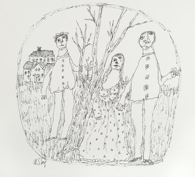 William Steig (American, 1907-2003). <em>[Untitled] (Family - Liney Sketch Tech)</em>. Brooklyn Museum, Gift of Jeanne Steig, 2010.20.43. © artist or artist's estate (Photo: Brooklyn Museum, 2010.20.43_PS2.jpg)