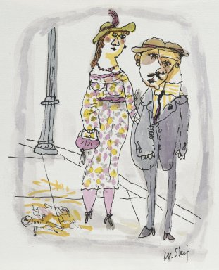 William Steig (American, 1907-2003). <em>[Untitled] (Couple Holding Hands)</em>. Brooklyn Museum, Gift of Jeanne Steig, 2010.20.47. © artist or artist's estate (Photo: Brooklyn Museum, 2010.20.47_PS2.jpg)