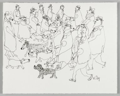 William Steig (American, 1907-2003). <em>[Untitled] (Many Walkers)</em>. Brooklyn Museum, Gift of Jeanne Steig, 2010.20.49. © artist or artist's estate (Photo: Brooklyn Museum, 2010.20.49_PS4.jpg)