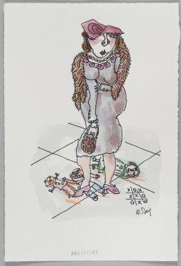 William Steig (American, 1907-2003). <em>[Untitled] (Philistine - Woman in Sidewalk)</em>. Brooklyn Museum, Gift of Jeanne Steig, 2010.20.50. © artist or artist's estate (Photo: Brooklyn Museum, 2010.20.50_PS4.jpg)