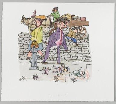 William Steig (American, 1907-2003). <em>[Untitled] (Tic Tac Toe - Couple on Sidewalk, Boy and Wagon Driver)</em>. Brooklyn Museum, Gift of Jeanne Steig, 2010.20.51. © artist or artist's estate (Photo: Brooklyn Museum, 2010.20.51_PS4.jpg)