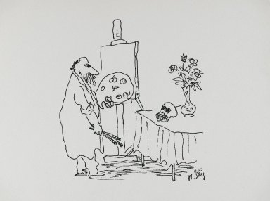 William Steig (American, 1907-2003). <em>[Untitled] (Painter and Skull)</em>. Brooklyn Museum, Gift of Jeanne Steig, 2010.20.54. © artist or artist's estate (Photo: Brooklyn Museum, 2010.20.54_PS4.jpg)