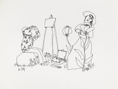 William Steig (American, 1907-2003). <em>[Untitled] (Painter with Lady and Flowers)</em>. Brooklyn Museum, Gift of Jeanne Steig, 2010.20.58. © artist or artist's estate (Photo: Brooklyn Museum, 2010.20.58_PS4.jpg)