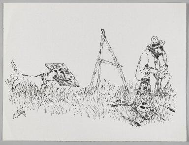William Steig (American, 1907-2003). <em>[Untitled] (Fetching Dog)</em>. Brooklyn Museum, Gift of Jeanne Steig, 2010.20.59. © artist or artist's estate (Photo: Brooklyn Museum, 2010.20.59_PS4.jpg)