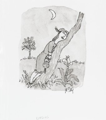 William Steig (American, 1907-2003). <em>[Untitled] (Longing (Woman and Tree))</em>. Brooklyn Museum, Gift of Jeanne Steig, 2010.20.5. © artist or artist's estate (Photo: Brooklyn Museum, 2010.20.5_PS4.jpg)