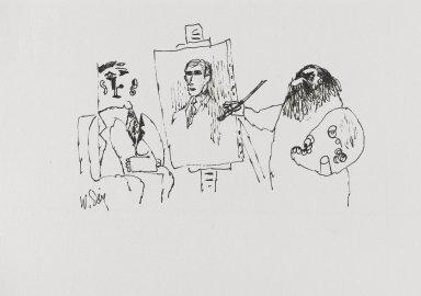 William Steig (American, 1907-2003). <em>[Untitled] (Portrait Painter)</em>. Brooklyn Museum, Gift of Jeanne Steig, 2010.20.60. © artist or artist's estate (Photo: Brooklyn Museum, 2010.20.60_PS4.jpg)