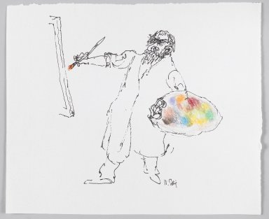 William Steig (American, 1907-2003). <em>[Untitled] (Painter and Palette)</em>. Brooklyn Museum, Gift of Jeanne Steig, 2010.20.61. © artist or artist's estate (Photo: Brooklyn Museum, 2010.20.61_PS4.jpg)