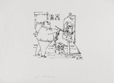 William Steig (American, 1907-2003). <em>[Untitled] (Boxer Painter)</em>. Brooklyn Museum, Gift of Jeanne Steig, 2010.20.63. © artist or artist's estate (Photo: Brooklyn Museum, 2010.20.63_PS4.jpg)