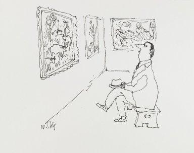 William Steig (American, 1907-2003). <em>[Untitled] (Man in Gallery)</em>. Brooklyn Museum, Gift of Jeanne Steig, 2010.20.65. © artist or artist's estate (Photo: Brooklyn Museum, 2010.20.65_PS4.jpg)