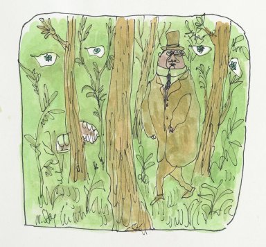 William Steig (American, 1907-2003). <em>[Untitled] (Forest with Eyes)</em>. Brooklyn Museum, Gift of Jeanne Steig, 2010.20.67. © artist or artist's estate (Photo: Brooklyn Museum, 2010.20.67_PS2.jpg)