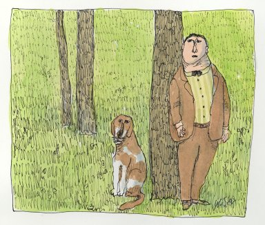 William Steig (American, 1907-2003). <em>[Untitled] (Man with Tree and Dog)</em>. Brooklyn Museum, Gift of Jeanne Steig, 2010.20.68. © artist or artist's estate (Photo: Brooklyn Museum, 2010.20.68_PS2.jpg)