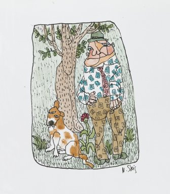 William Steig (American, 1907-2003). <em>[Untitled] (Man with Tree and Dog)</em>. Brooklyn Museum, Gift of Jeanne Steig, 2010.20.69. © artist or artist's estate (Photo: Brooklyn Museum, 2010.20.69_PS4.jpg)