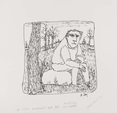 William Steig (American, 1907-2003). <em>[Untitled] (He Can't Remember Why He's So Sorry)</em>. Brooklyn Museum, Gift of Jeanne Steig, 2010.20.70. © artist or artist's estate (Photo: Brooklyn Museum, 2010.20.70_PS4.jpg)