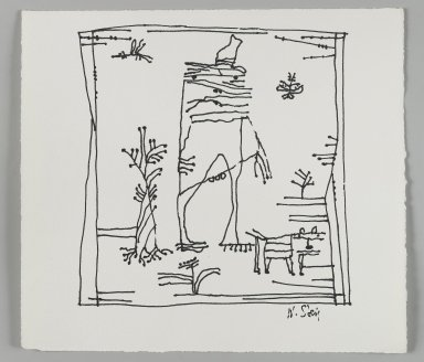 William Steig (American, 1907-2003). <em>[Untitled] (Stick Man and Pet)</em>. Brooklyn Museum, Gift of Jeanne Steig, 2010.20.71. © artist or artist's estate (Photo: Brooklyn Museum, 2010.20.71_PS4.jpg)