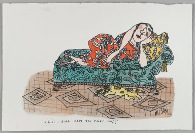 William Steig (American, 1907-2003). <em>[Untitled] (Will I Ever Meet the Right One? - Woman on Divan)</em>. Brooklyn Museum, Gift of Jeanne Steig, 2010.20.73. © artist or artist's estate (Photo: Brooklyn Museum, 2010.20.73_PS4.jpg)