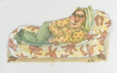 William Steig (American, 1907-2003). <em>[Untitled] (Man on Divan)</em>. Brooklyn Museum, Gift of Jeanne Steig, 2010.20.74. © artist or artist's estate (Photo: Brooklyn Museum, 2010.20.74_PS2.jpg)