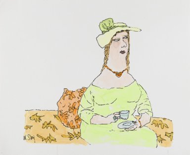 William Steig (American, 1907-2003). <em>[Untitled] (Woman with Teacup)</em>. Brooklyn Museum, Gift of Jeanne Steig, 2010.20.75. © artist or artist's estate (Photo: Brooklyn Museum, 2010.20.75_PS4.jpg)