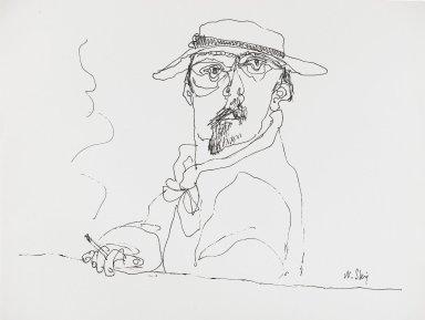 William Steig (American, 1907-2003). <em>[Untitled] (Man with Cigarette)</em>. Brooklyn Museum, Gift of Jeanne Steig, 2010.20.76. © artist or artist's estate (Photo: Brooklyn Museum, 2010.20.76_PS4.jpg)