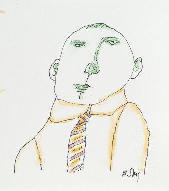 William Steig (American, 1907-2003). <em>[Untitled] (Man with Tie)</em>. Brooklyn Museum, Gift of Jeanne Steig, 2010.20.77a-b. © artist or artist's estate (Photo: Brooklyn Museum, 2010.20.77a_PS2.jpg)