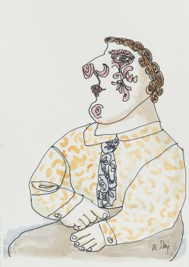 William Steig (American, 1907-2003). <em>[Untitled] (Man with Decorative Face)</em>. Brooklyn Museum, Gift of Jeanne Steig, 2010.20.78. © artist or artist's estate (Photo: Brooklyn Museum, 2010.20.78_PS4.jpg)