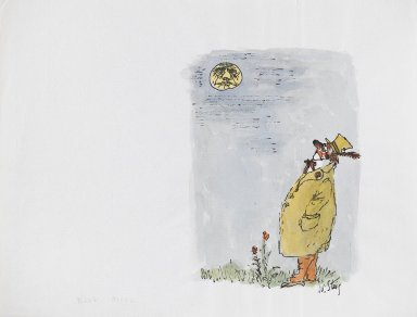 William Steig (American, 1907-2003). <em>[Untitled] (Blue Moon (Clown))</em>. Brooklyn Museum, Gift of Jeanne Steig, 2010.20.7. © artist or artist's estate (Photo: Brooklyn Museum, 2010.20.7_PS4.jpg)