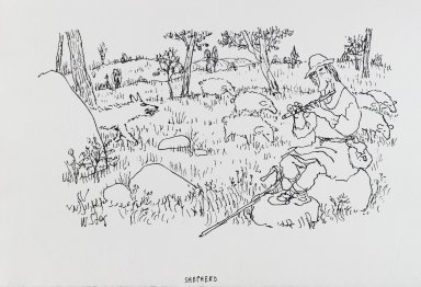 William Steig (American, 1907-2003). <em>[Untitled] (Shepherd)</em>. Brooklyn Museum, Gift of Jeanne Steig, 2010.20.80. © artist or artist's estate (Photo: Brooklyn Museum, 2010.20.80_PS4.jpg)