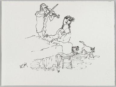 William Steig (American, 1907-2003). <em>[Untitled] (Piano and Violin)</em>. Brooklyn Museum, Gift of Jeanne Steig, 2010.20.82. © artist or artist's estate (Photo: Brooklyn Museum, 2010.20.82_PS4.jpg)