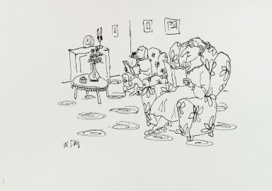 William Steig (American, 1907-2003). <em>[Untitled] (Parlor with Woman and Dog)</em>. Brooklyn Museum, Gift of Jeanne Steig, 2010.20.87. © artist or artist's estate (Photo: Brooklyn Museum, 2010.20.87_PS4.jpg)
