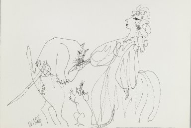 William Steig (American, 1907-2003). <em>[Untitled] (Maiden with Cat and Mouse)</em>. Brooklyn Museum, Gift of Jeanne Steig, 2010.20.88. © artist or artist's estate (Photo: Brooklyn Museum, 2010.20.88_PS4.jpg)