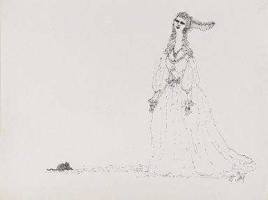 William Steig (American, 1907-2003). <em>[Untitled] (Maiden with Mouse)</em>. Brooklyn Museum, Gift of Jeanne Steig, 2010.20.89. © artist or artist's estate (Photo: Brooklyn Museum, 2010.20.89_PS4.jpg)