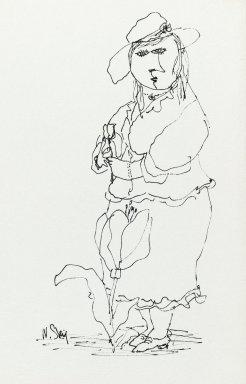 William Steig (American, 1907-2003). <em>[Untitled] (Woman and Flower)</em>. Brooklyn Museum, Gift of Jeanne Steig, 2010.20.91. © artist or artist's estate (Photo: Brooklyn Museum, 2010.20.91_PS2.jpg)