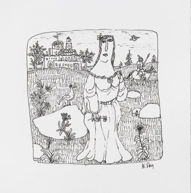 William Steig (American, 1907-2003). <em>[Untitled] (Maiden and Knight)</em>. Brooklyn Museum, Gift of Jeanne Steig, 2010.20.93. © artist or artist's estate (Photo: Brooklyn Museum, 2010.20.93_PS4.jpg)