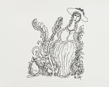 William Steig (American, 1907-2003). <em>[Untitled] (Woman with Plants and Cat)</em>. Brooklyn Museum, Gift of Jeanne Steig, 2010.20.94. © artist or artist's estate (Photo: Brooklyn Museum, 2010.20.94_PS4.jpg)