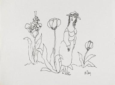 William Steig (American, 1907-2003). <em>[Untitled] (Woman with Man/Bug)</em>. Brooklyn Museum, Gift of Jeanne Steig, 2010.20.95. © artist or artist's estate (Photo: Brooklyn Museum, 2010.20.95_PS4.jpg)